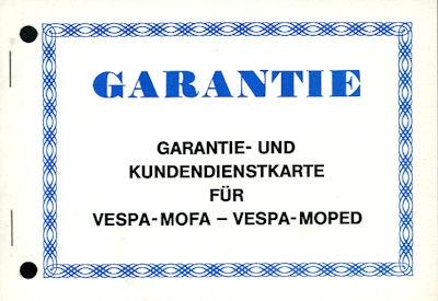 Vespa Mofa / Moped Garantie- und Kundendienstkarte 1970er Jahre