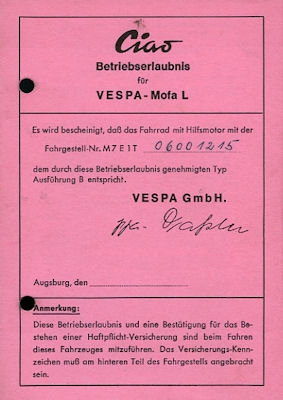 Vespa Mofa L Betriebserlaubnis 1972