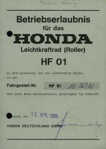 Honda Roller Lead 80 Betriebserlaubnis 1983