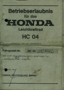 Honda MBX Betriebserlaubnis 1985