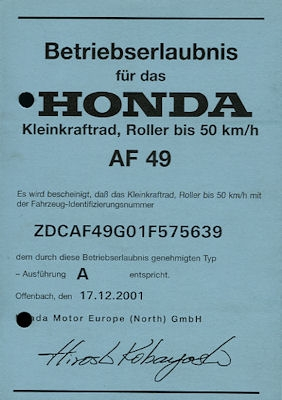 Honda Roller X8R-S/X (SZX50 S/X) Betriebserlaubnis 2001