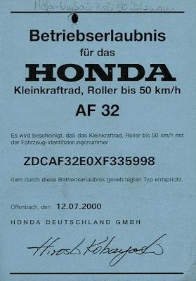 Honda Roller Bali 50 Betriebserlaubnis 2000