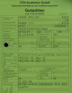 Honda Roller SJ 100 Bali Betriebserlaubnis 1999