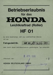 Honda Roller Lead 80 Betriebserlaubnis 1986
