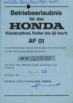Honda Roller Lead 50 Betriebserlaubnis 1989