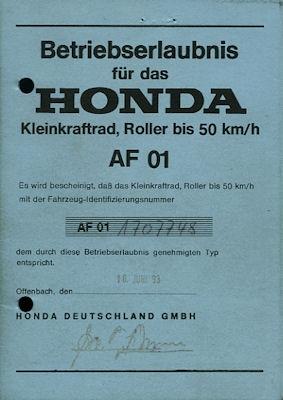 Honda Roller Lead 50 Betriebserlaubnis 1993