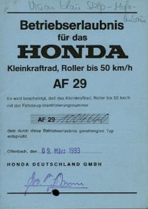 Honda Roller Vision 50 Betriebserlaubnis 1993
