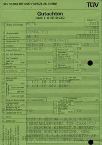 Honda Mofa Sky 50 Betriebserlaubnis 1998
