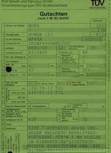 Honda Roller SZX 50 SW Betriebserlaubnis 1998