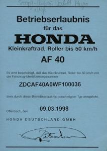 Honda Scoopy Betriebserlaubnis 1998