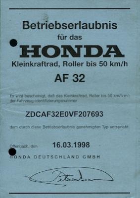 Honda Roller Bali 50 Betriebserlaubnis 1998