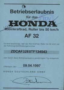 Honda Roller Bali 50 Betriebserlaubnis 1997