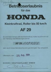 Honda Roller Vision 50 Betriebserlaubnis 1994