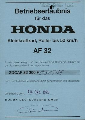 Honda Roller Bali 50 Betriebserlaubnis 1995