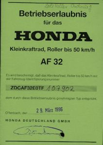 Honda Roller Bali 50 Betriebserlaubnis 1996