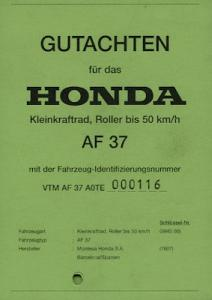 Honda Roller SFX 50 Betriebserlaubnis 1996