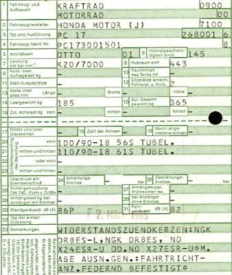 Honda CB 450 S Original Fahrzeugbrief 1986 1