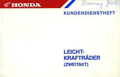 Honda Kundendienstheft Leichtkrafträder (Zweitakt) 1987