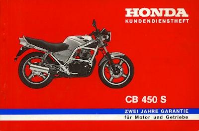 Honda Kundendienstheft CB 450 S 1980er Jahre
