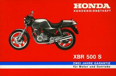 Honda Kundendienstheft XBR 500 S 1980er Jahre
