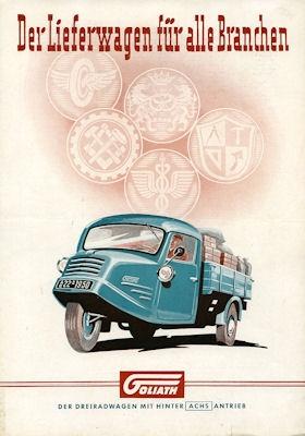 Goliath 0,75 to Dreirad Lieferwagen Prospekt ca. 1950