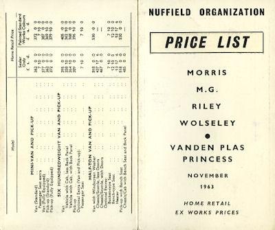 Morris Wolseley Riley MG Vanden Plas Preisliste 11.1963