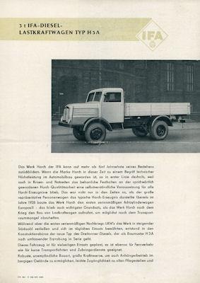 Horch H3A Lkw Prospekt 9.1950