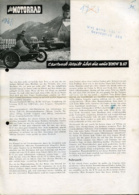 BMW R 67 Test 1951