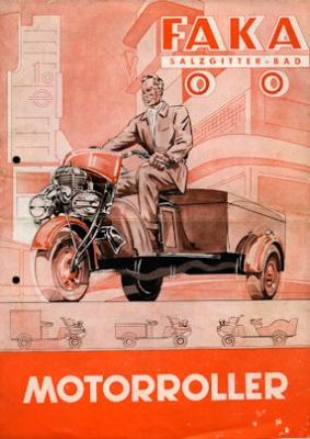 Faka Dreirad Motorroller Prospekt 1950er Jahre