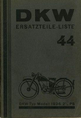 DKW Typ 2,5 PS Ersatzteilliste 1936