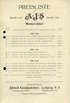 AJS Preisliste 1928