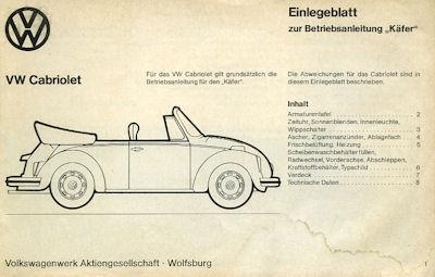 VW Käfer 1200 Cabriolet Einlegeblatt zur Bedienungsanleitung 8.1975