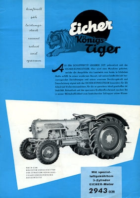 Eicher 35 PS Königs-Tiger Prospekt 1962