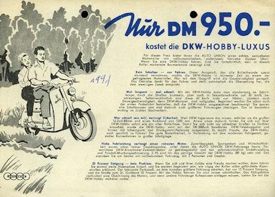 DKW Hobby Luxus Prospekt ca. 1956