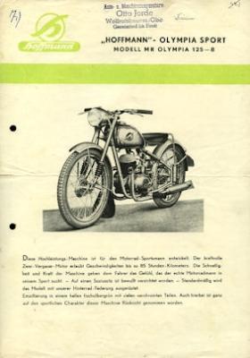 Hoffmann Modell MR Olympia 125-8 Prospekt 1950