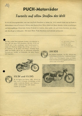 Puch Programm ca. 1954