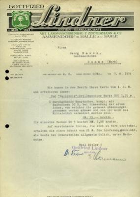 Gottfried Lindner / Halle-Saale Brief 1930er Jahre