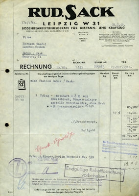 Rud. Sack / Leipzig Brief 1940