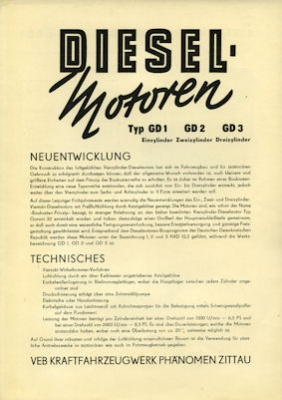 IFA Phänomen Stationär Motoren Prospekt 1956
