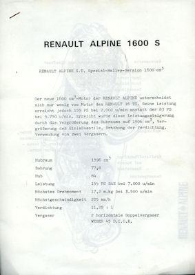 Renault Alpine 1600 S Beschreibung ca. 1970