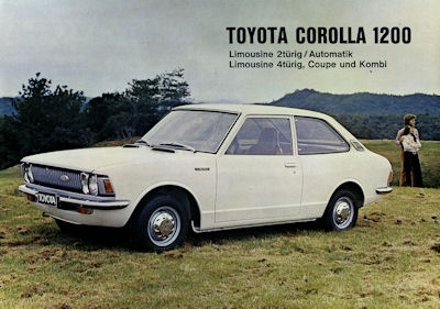 Toyota Corolla 1200 Limosine Kombi Coupé Prospekt ca. 1974