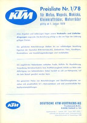 KTM Preisliste 1.1978