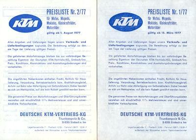 KTM Preislisten 3.1977 + 8.1977