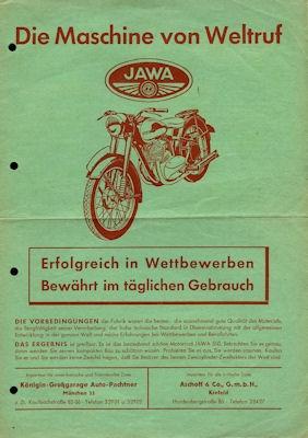 Jawa 250 350 Prospekt ca. 1957