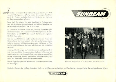 Sunbeam S 7 + S 8 Schweizer-Prospekt 1950er Jahre