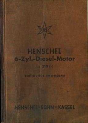 Henschel 6 Zyl. Diesel Motor Typ 512 DG Bedienungsanleitung 2.1951