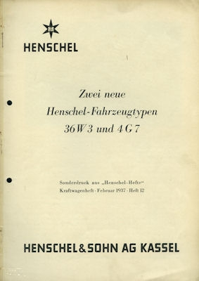 Henschel 36 W 3 und 4 G 7 Berichte 1937