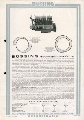 Büssing Motoren Prospekt 9.1929