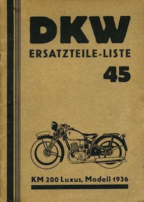 DKW KM 200 Ersatzteilliste 45 1936