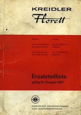 Kreidler Florett Ersatzteilliste 1967